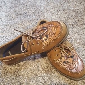 Tooled leather loafer men's size 8
